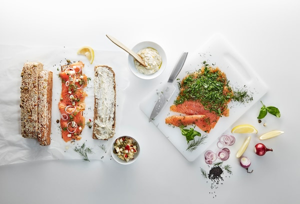 Swedish Food Market items like cold smoked salmon and cream cheese on top of resh barquette