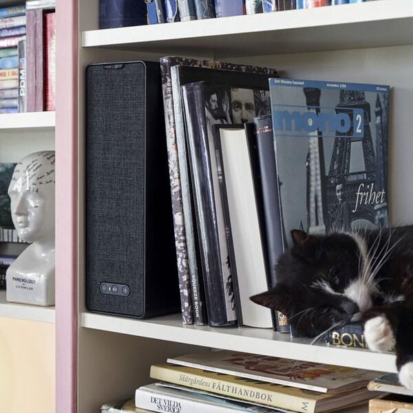 SYMFONISK Haut-parleur étagère wifi, noir.
