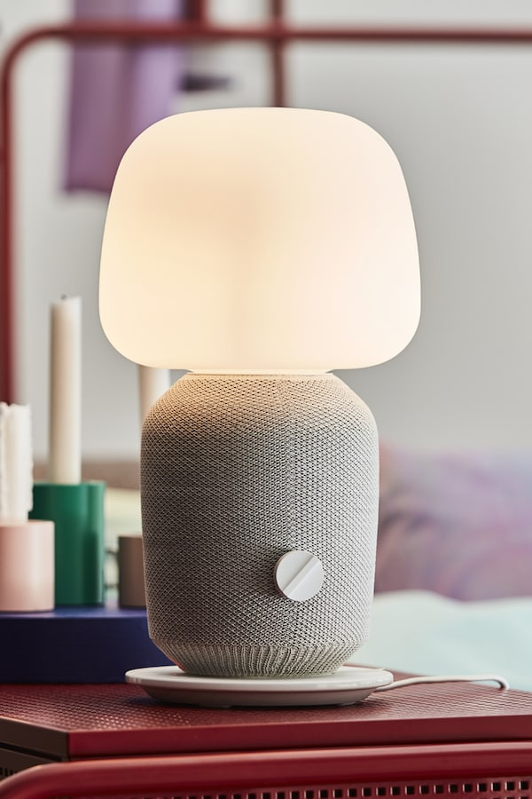 SYMFONISK Lampe table haut-parleur wifi int, blanc