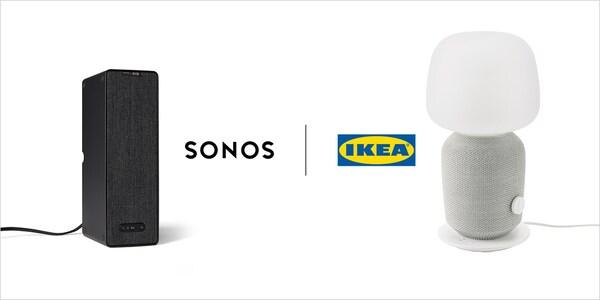 SYMFONISK Lautsprecher und Tischlampe sind gemeinsam mit dem SONOS und IKEA Logo abgebildet