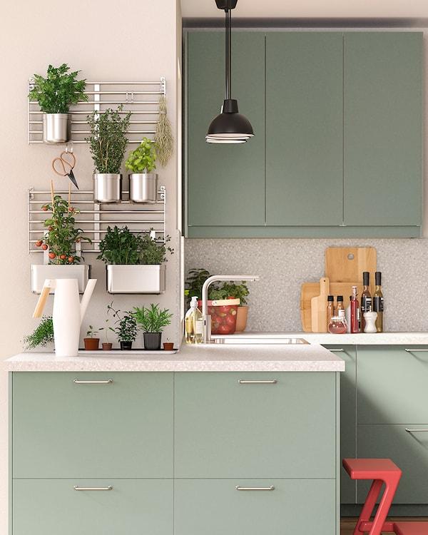 Szarozielona kuchnia z przymocowaną do ściany kratką ze stali nierdzewnej z roślinami doniczkowymi, w których rosną różne zioła i warzywa.