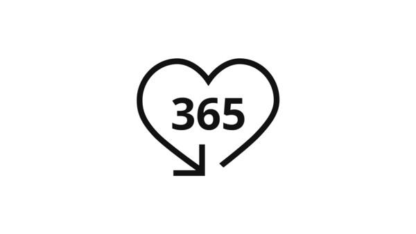 Szív alakú nyíl piktogramja, benne 365 számmal, ami a termékek visszavételét szimbolizálja.