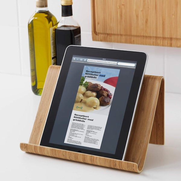 Tablet on a stand in a kitchen
