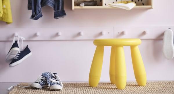 Tabouret enfant, intérieur/extérieur, jaune