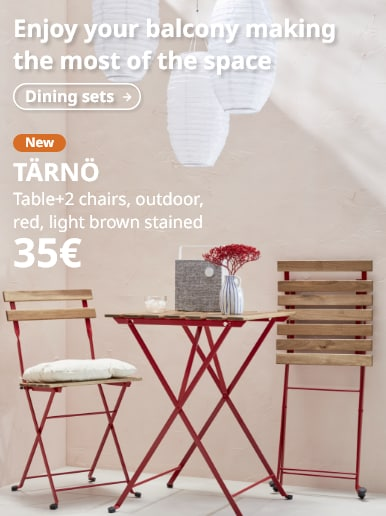 TÄRNÖ Table+2 chairs, outdoor, red, light brown stained
