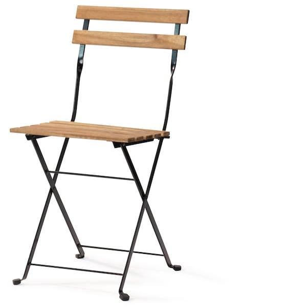 TÄRNÖ Židle, venkovní, skládací akácie černá, šedohnědé mořidlo ocel světle hnědé mořidlo.