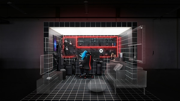 Täydellinen pelilaitteisto mustassa ja valkoisessa laatikossa, jossa fyysiset tuotteet kohtaavat virtuaalitodellisuuden, kuvitettuna ruudukon kautta.