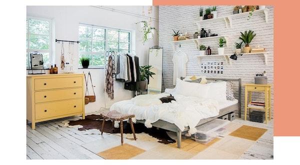 Teen bedroom for girls — tips — HEMNES chest of drawers — HEMNES bedside table — IKEA interior inspiration