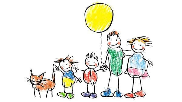 tegning av en familie.