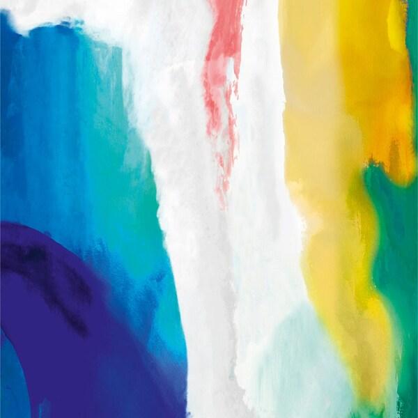 Tela com pinceladas em azul, verde, branco amarelo e rosa.