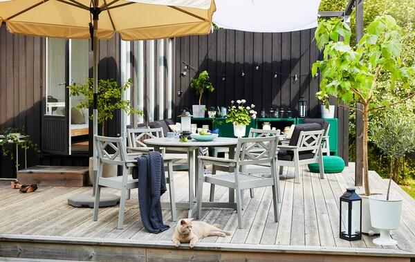 Terasă mare mobilată complet ca o cameră de zi, cu mese, scaune, plante, spații de depozitare, corpuri de iluminat și o pisică lenevind în față.