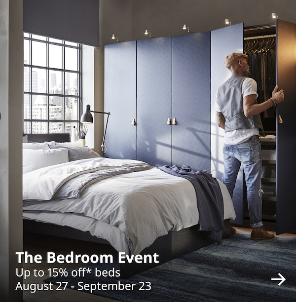 The bedroom event. Up to 15% off* beds. August 27 - September 23.