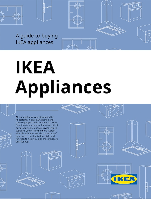 The cover of an IKEA Appliances brochure showing white illustrations of kitchen appliances against a blue background.