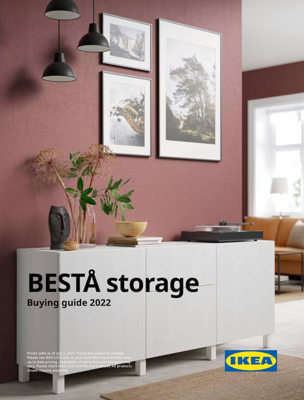 The cover of an IKEA BESTÅ storage brochure showing a wall with a TV, shelves, closed storage and cabinets displaying vases.