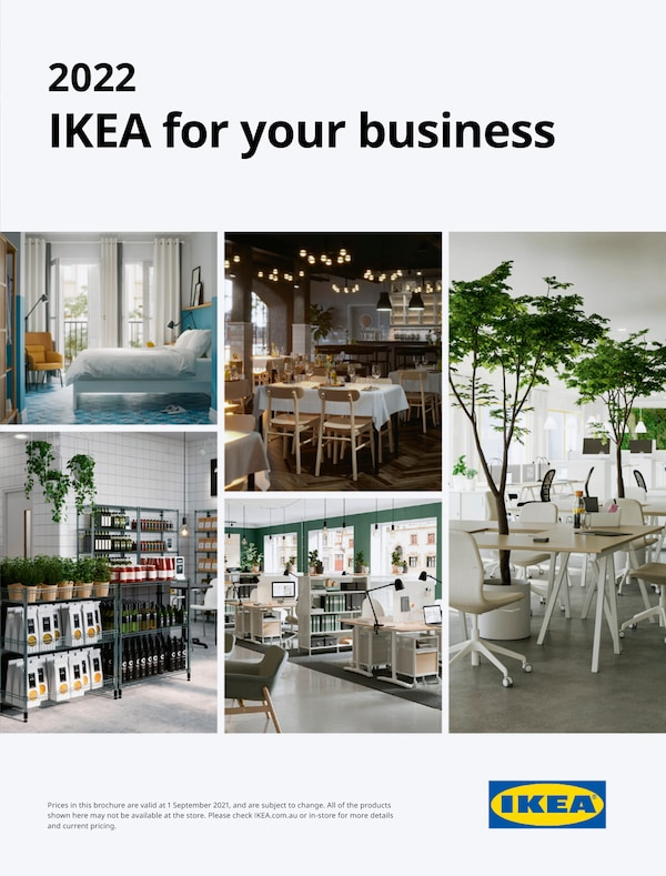 The cover of an IKEA for your brochure showing restaurant, office, store and bed.