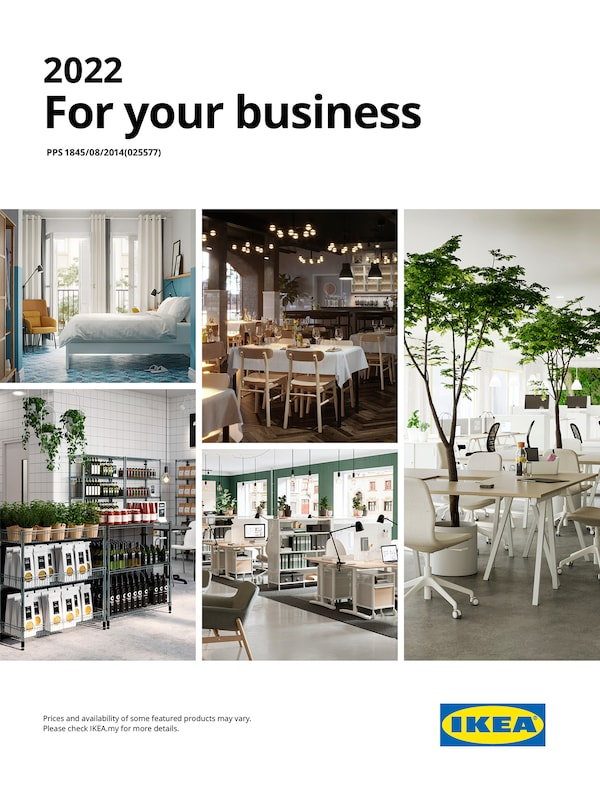 The cover of an IKEA For your business showing several different typs of work chairs and tables for your business.