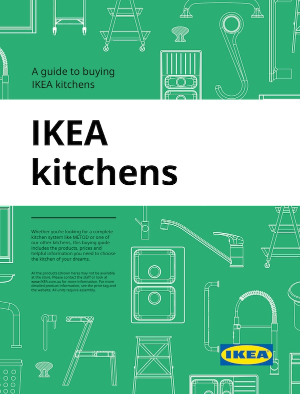 The cover of an IKEA Kitchens brochure showing white illustrations of kitchen appliances against a blue background.