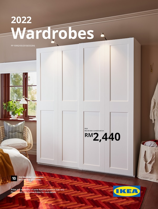 The cover of an IKEA Wardrobes brochure showing a white two-doors wardrobe with lightings.