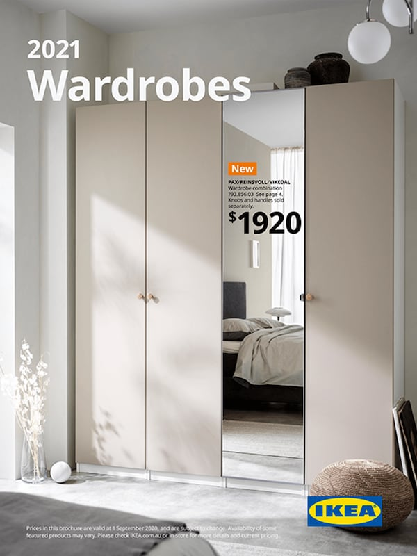 The cover of an IKEA Wardrobes brochure showing clothes hanging on racks, boxes, drawers, shelves and beige drapes for doors.