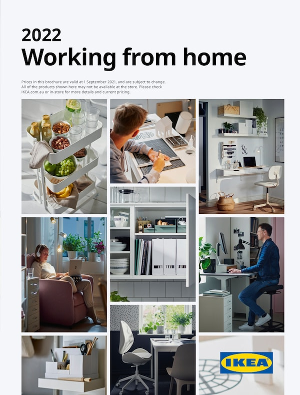 The cover of an IKEA Working form home brochure showing desks, office chair, storage and trolley.