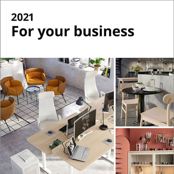 The cover of the 2021 IKEA Business Brochure featuring many inspirational business photos.