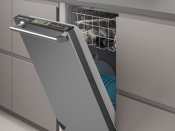 The ESSENTIELL black stainless steel built-in dishwasher