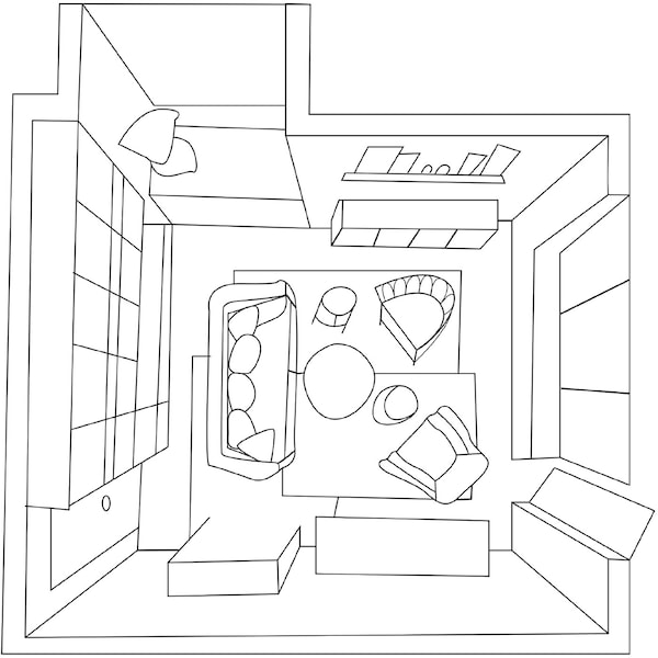 The floor plan for a cosy living room with a sofa and two armchairs.