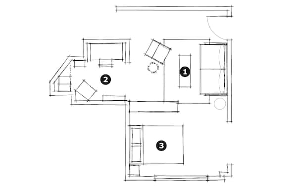 The floor plan for Giselle's studio apartment showing the division of space labeled as 1. Living Room, 2. Art Studio, and 3. Bedroom