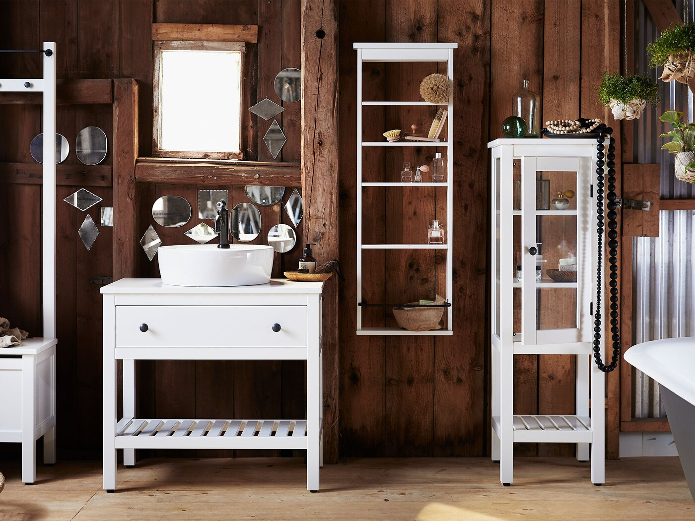 The Four White Stained Pine Storage Pieces Of HEMNES Bathroom Furniture  Series Are Shown In