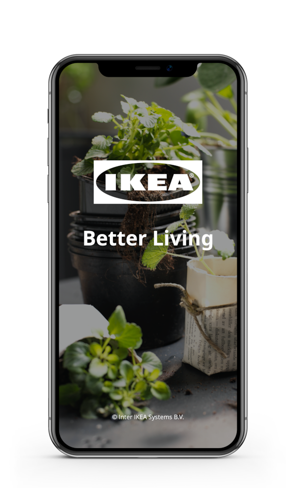 The IKEA Better Living app opened on a smart phone screen.