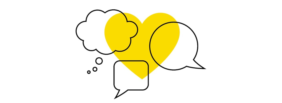 The IKEA symbol for coronavirus communication consisting of three different speech bubbles superimposed over a yellow heart.