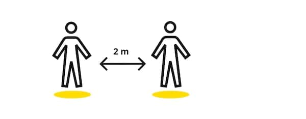 The IKEA symbol for coronavirus social distancing within 2m. Two individuals standing within 2 m distance to each other.