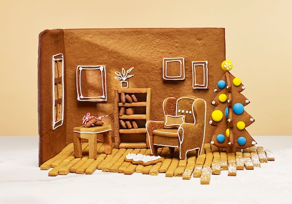 The inside of a gingerbread home.