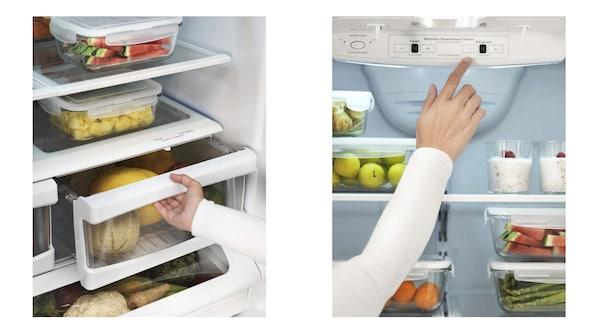 The inside of a refrigerator.