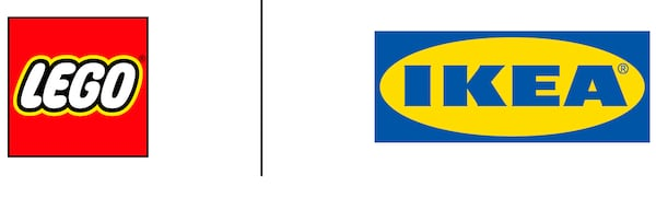 The LEGO logo and the IKEA logo appear next to each other separated by a black line.