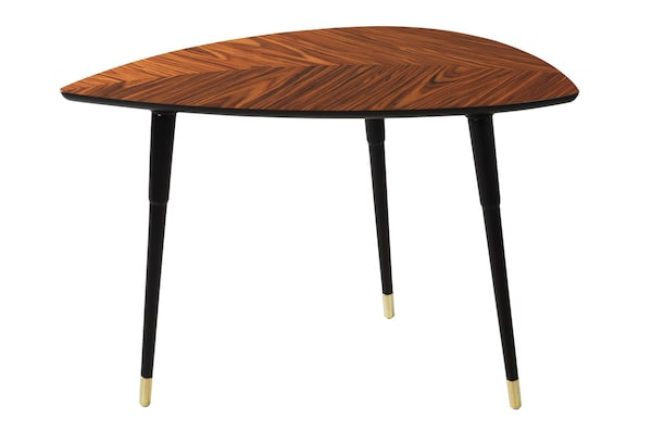 The LÖVBACKEN table- a wood table shaped like a leaf with a woodgrain, and three legs against a white background.