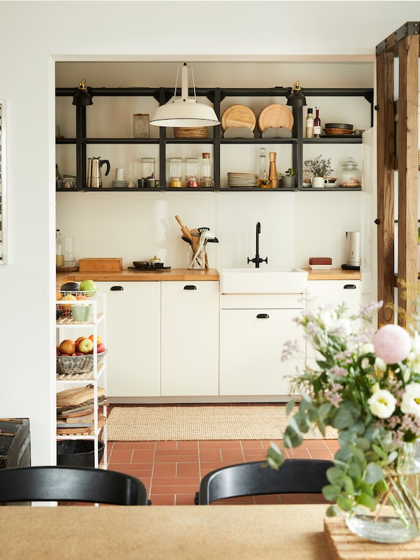 The newly installed kitchen from IKEA looks bright and modern and offers plenty of space.