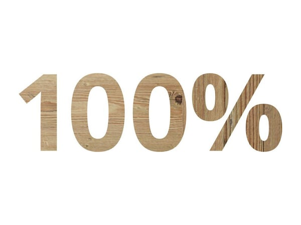 The number 100% with a wood texture.