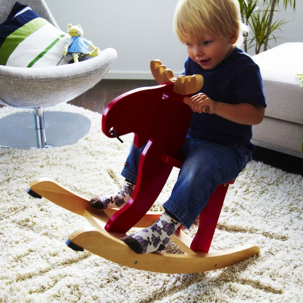 The rocking-moose IKEA EKORRE is made from rubberwood from responsibly managed forests in Asia.