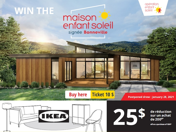 The tickets for the draw of the Maison Enfant Soleil 2020 are available here!
