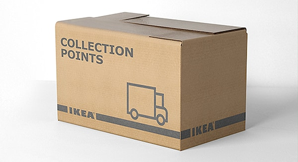 The words Collection Points IKEA printed on the side of a cardboard box.