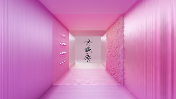 Three floating side tables at the end of a pink hallway with a shag rug on one wall in spheres protruding from the left wall.
