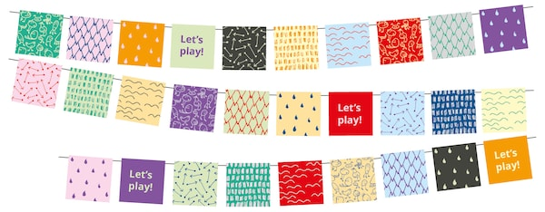 """Three rows of a multicolored party garland with the words """"Let's play!"""" written in some places."""