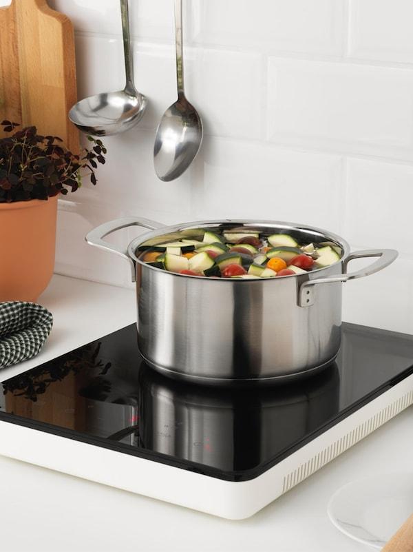 TILLREDA Table de cuisson à induction mobile, blanc.