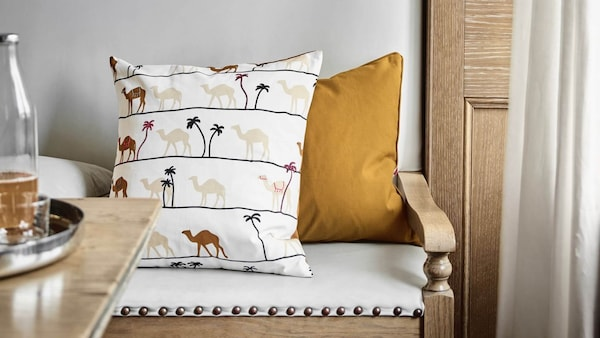 TILLTALANDE Cushion cover, camel pattern/brown, 20x20