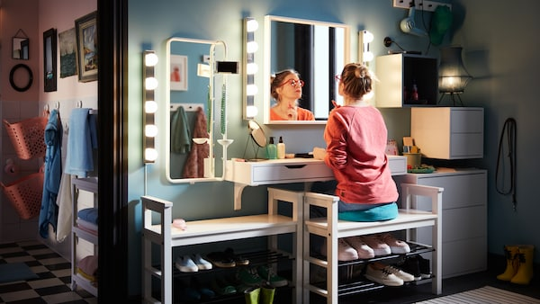 Tips about how to set up a styling and storage area in your hallway so you can get ready on busy mornings.
