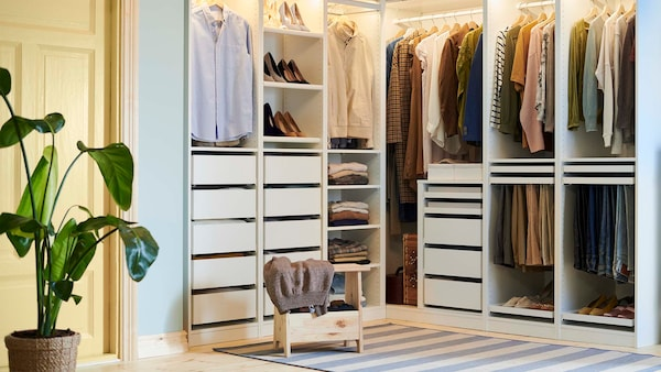 Tips and advice about how to organise a wardrobe to make it easier to store and find your clothes, shoes and accessories.