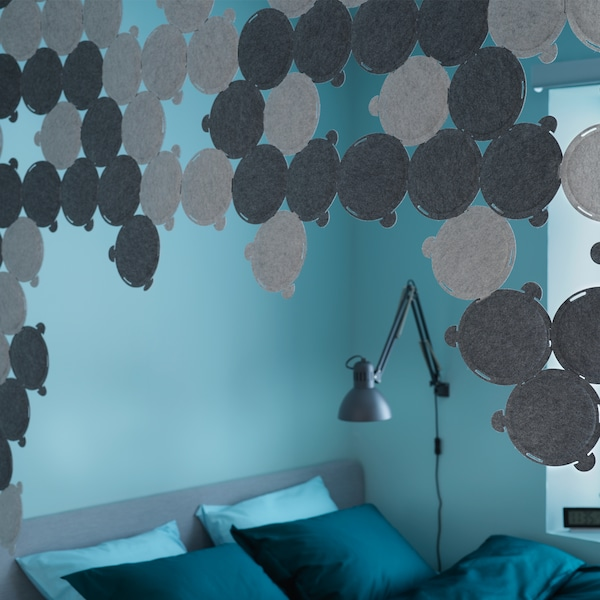 Tips on using ODDLAUG sound absorbing panels to make your home quieter.