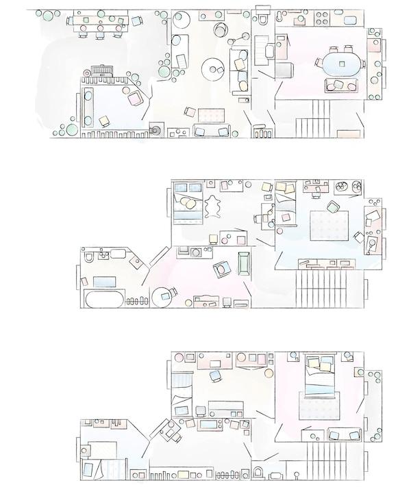 Tlocrt doma u kojem žive Edna i Erik.