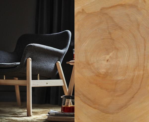 To bilder i ett: en VEDBO lenestol med ben i tre på den ene siden og et nærbilde av bjørkeved på den andre.